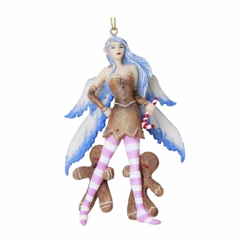 Blue Gingerbread Fairy Ornament