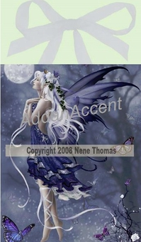 Blue Nocturne Fairy Wall Art Tile by Nene Thomas