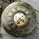 Bronze Engraved Roman Numerals Pocket Watch