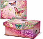 Butterfly Swirl Notecards in Keepsake Music Box
