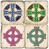 Celtic Cross Marble Coaster Set
