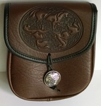 Celtic Horses Leather Belt Pouch (Medium)