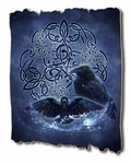Celtic Ravens Tattered Wood Print