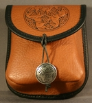 Celtic Triple Horse Leather Belt Pouch (Small)