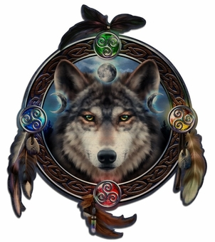 Celtic Wolf Guide Wood Wall Plaque