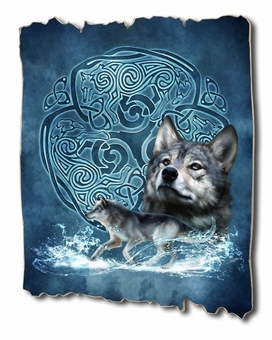 Celtic Wolf Tattered Wood Print