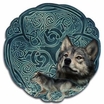 Celtic Wolves Wood Wall Plaque