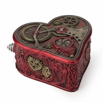 Crimson Steampunk Heart Box