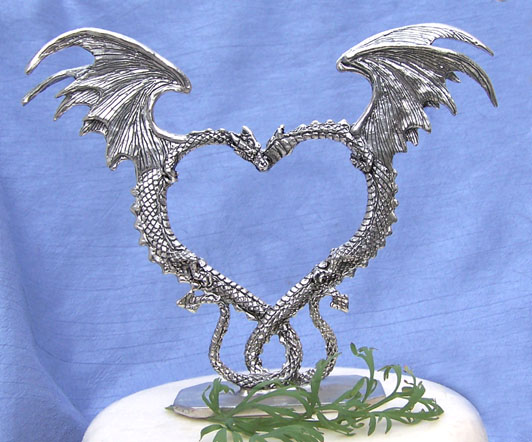 Dragon Heart Cake Topper - Pewter Dragon Wedding Cake Top