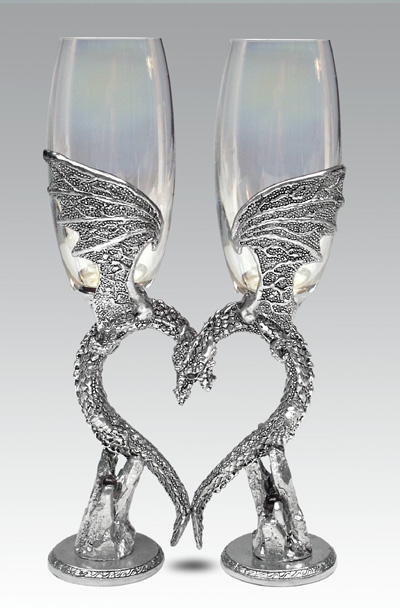 Dragon Heart Wing Glasses Flutes Wedding Wine Glasses By