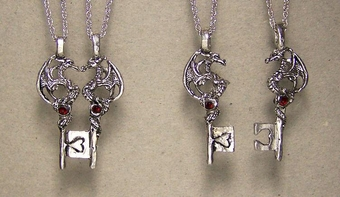 Dragon Key Necklace Pair