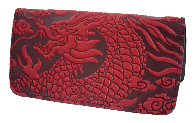 Business Size Checkbook Covers : Dragon leather check book cover by oberon designs