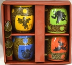 Dragon Mugs with Spoons Box Set of 4