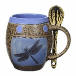 Dragonfly Mugs with Spoons Box Set of 4