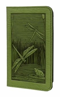 Dragonfly Pond Leather Check Book Cover