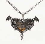 Dual Dragons Heart Necklace