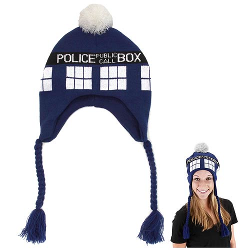 DR Who Tardis Knit Costume Police Public Call Box Laplander Hat By Elope