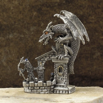 Evening Chat Pewter Dragon & Wizard