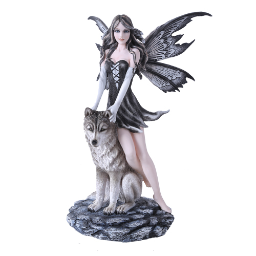 Fairy Leaning On Wolf Figurine Faery Gifts Fairyglen Com