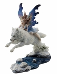 Fairy Riding Arctic Wolf