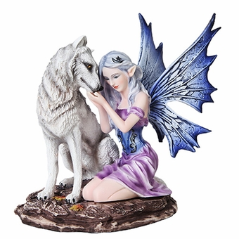 Fairy with White Wolf