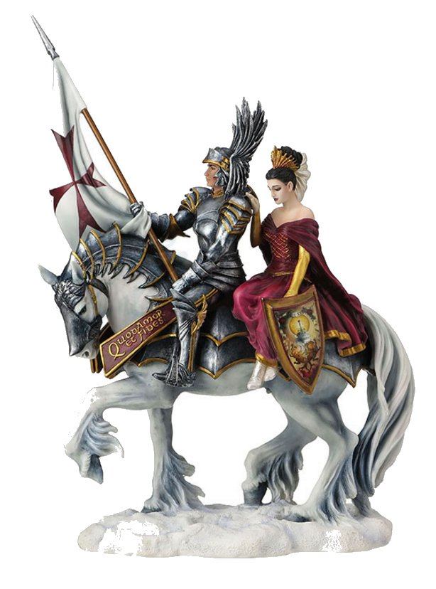 Faith Mounted Knight Amp Lady Figurine By Ruth Thompson