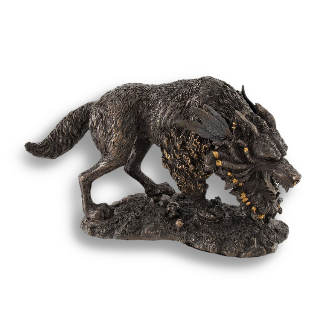 Norse Mythology Gigantic Wolf Fenrir Bronze Figurine