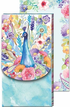 Floral Peacock Large Pocket Note Pad