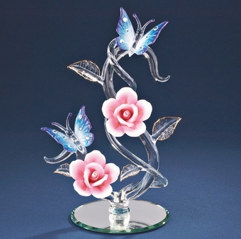 Glass Butterflies Rose Vine