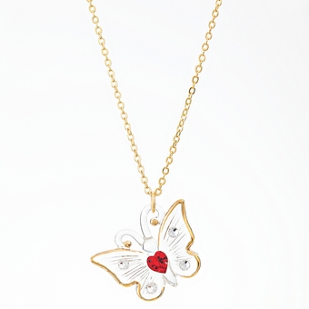 Butterfly with Crystal Heart Glass Necklace