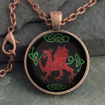 Glass Domed Dragon Pendant