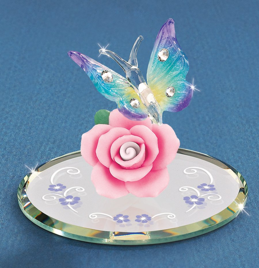 flower  u0026 butterfly glass figurine  butterfly gifts