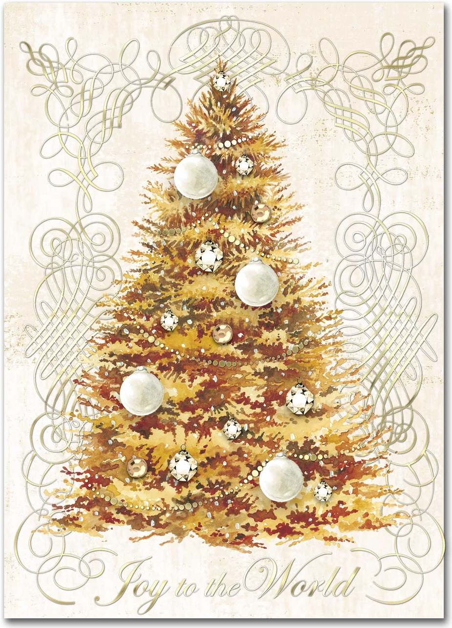 golden tree holiday cards  christmas  punch studio  fairyglen com