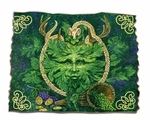 Green Man Cernunnos Tattered Wood Print