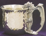 Hammered Drinking Dragon Pewter Cup