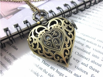 Heart Shaped Pocket Watch Necklace