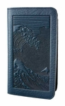 Hokusai Wave Leather Checkbook Cover