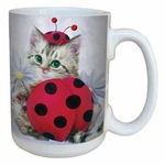 Lady Bug Kitten Coffee Mug