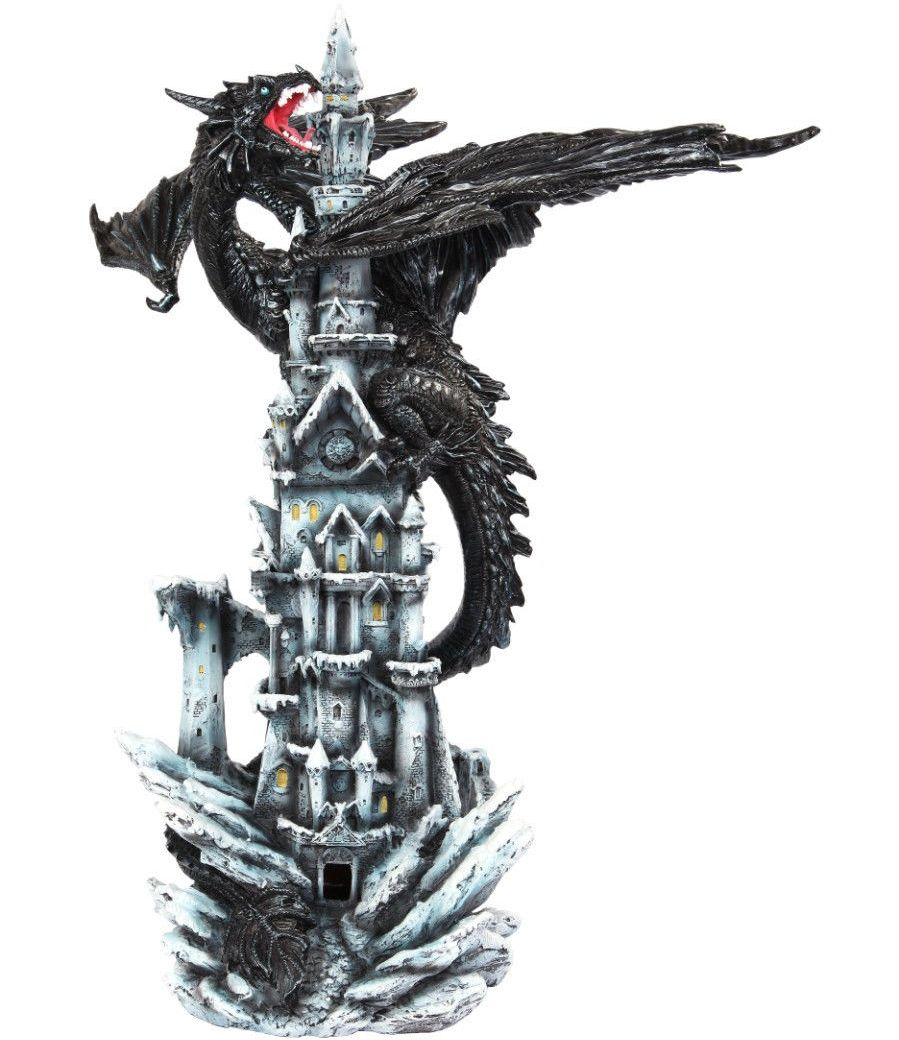 Large Black Dragon On A Castle Figurine Dragon Figurines