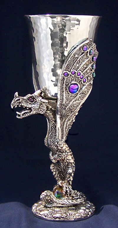 Limited edition butterfly dragon pewter goblet by fellowship foundry - Pewter dragon goblet ...