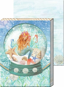 Mermaid Globe Diecut Window Pocket Notepad