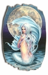 Moon Mermaid Tattered Wood Print