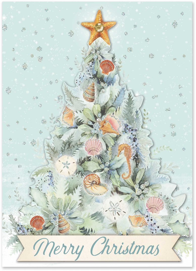 Ocean Tree Christmas Cards: Punch Studio Gifts: FairyGlen.com