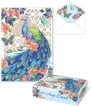 Peacock Garden Lattice Die-cut Note Cards