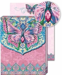 Pink Butterfly Glitter Notepad