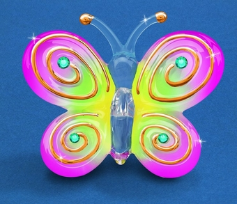 Pink Pizzazz Glass Butterfly