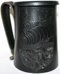 Pirate Ship Leather Mug