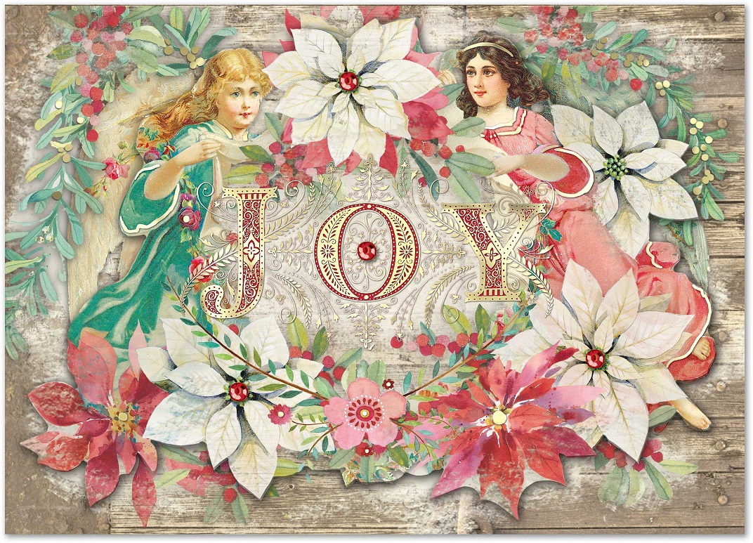 Angels Christmas Cards.Poinsettia Angels Christmas Cards