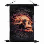 Fire Skull Art Scroll