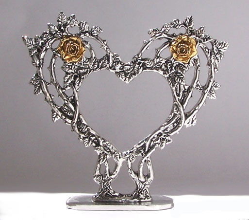 heart pewter wedding cake topper by fellowship foundry